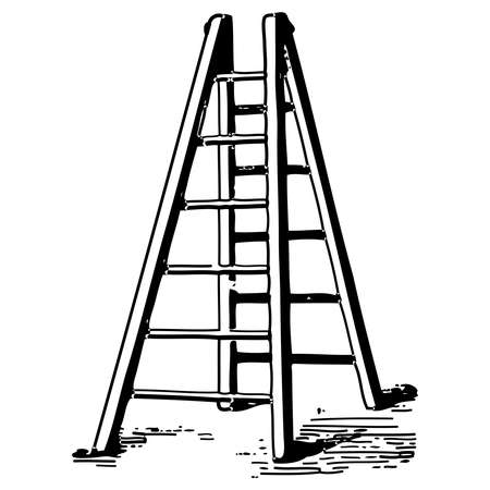Vintage engraving style vector illustration of a ladder Illusztráció