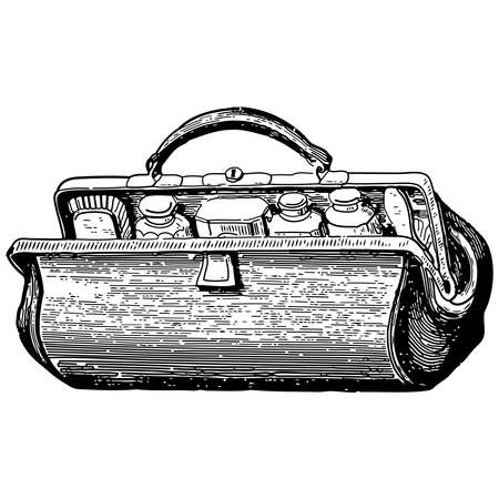Vintage engraving style vector illustration of a medical bag