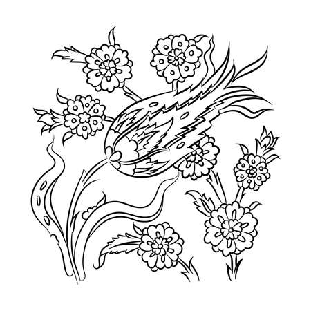 Traditional Turkish style floral drawing, stylized floral illustration, Iznik tile decoration Stock Illustratie
