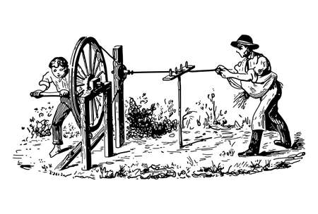 Vintage engraving style vector illustration of two men using a wheel mechanism Stock Illustratie