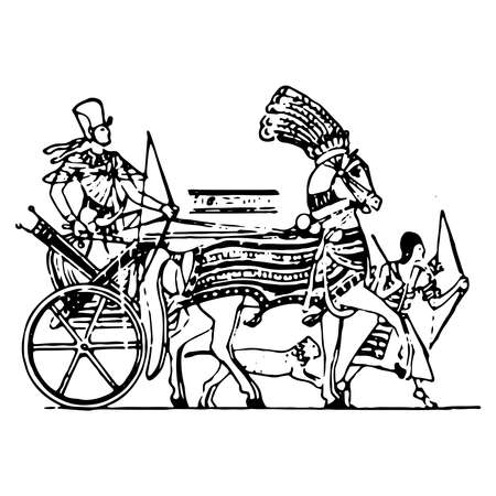 Vintage engraving style vector illustration of an egyptian war chariot Stock Illustratie