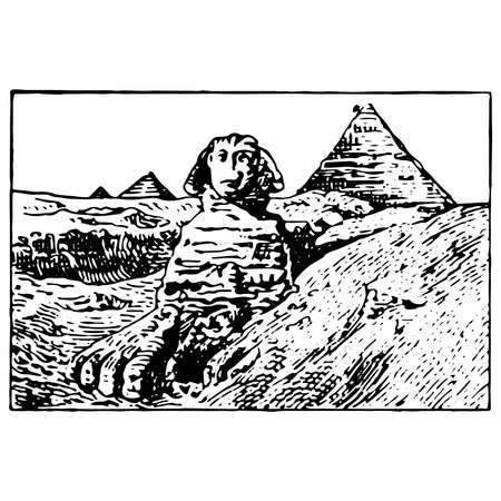 Vintage engraving style vector illustration of the Sphinx and the Great Pyramids of Giza