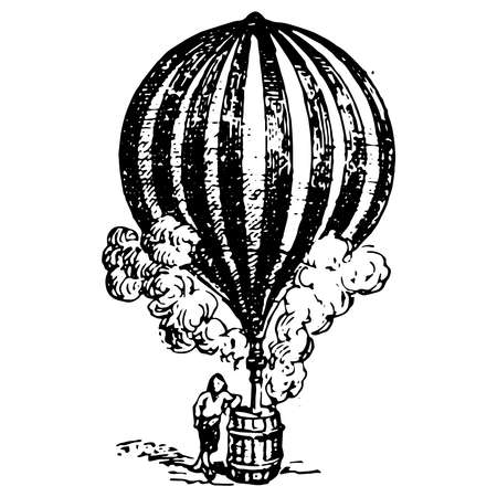 Vintage engraving style vector illustration of an ancient hydrogen balloon