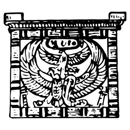 Vintage engraving style vector illustration of an ancient Egyptian symbol