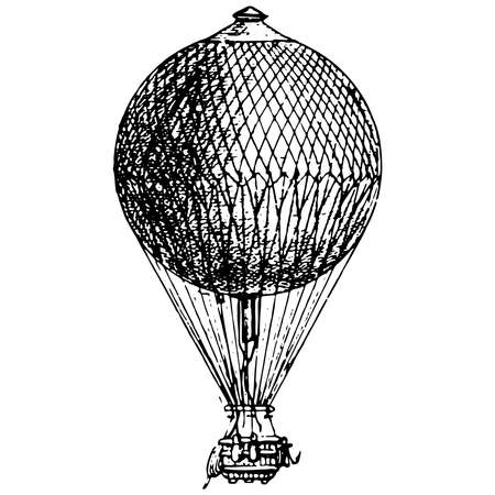 Vintage engraving style vector illustration of an ancient hot air balloon