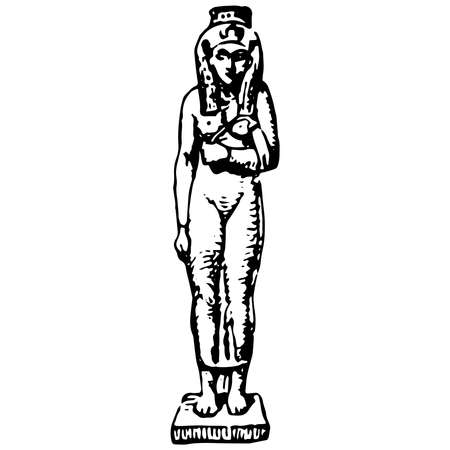 Vintage engraving style vector illustration of an ancient Egyptian woman figure Stock Illustratie