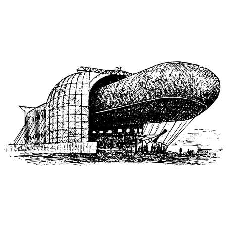 Vintage engraving style vector illustration of an airship, dirigible aircraft