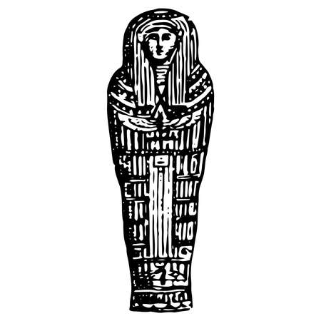 Vintage engraving style vector illustration of an ancient Egyptian sarcophagus