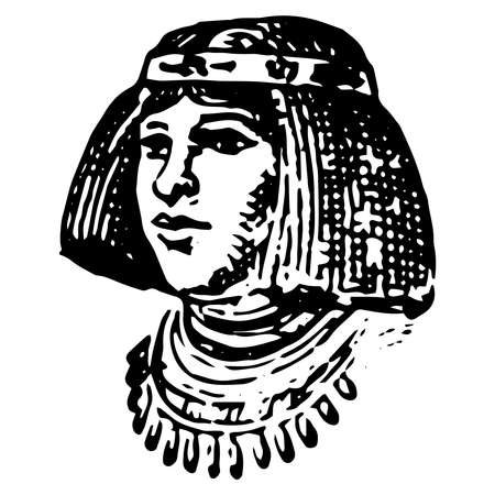 Vintage engraving style vector illustration of a female portrait from the ancient Egypt