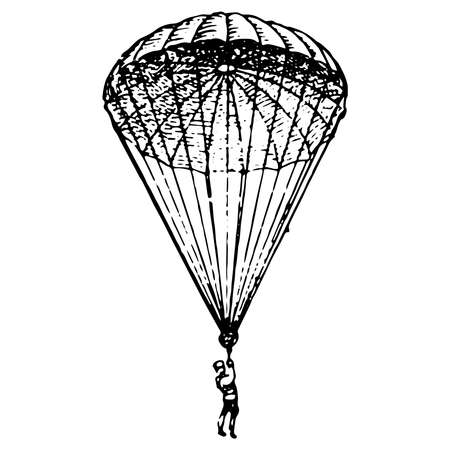 Vintage engraving style vector illustration of a man landing on a parachute