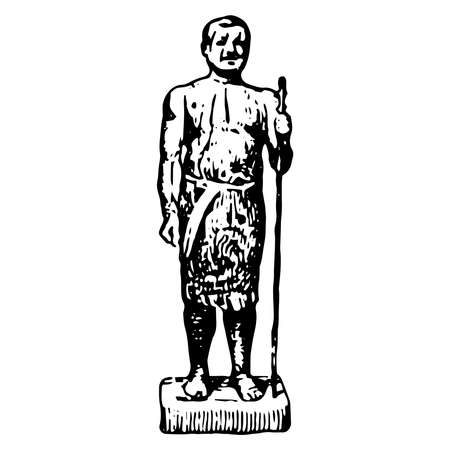 Vintage engraving style vector illustration of an ancient Egyptian man holding a stick
