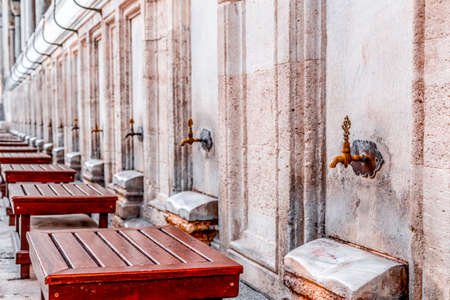 Copper ornate ablution taps of Suleymaniye Mosque in Istanbul