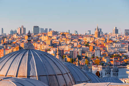 Panoramic cityscape of Istanbul from Suleymaniye Mosque overlooking the Golden Horn or Halic, the European side of the Bosphorus.