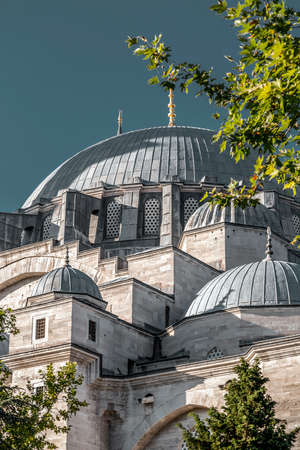 Exterior view of the Suleymaniye Mosque, located on the Third Hill of Istanbul. The mosque was commissioned by Suleiman the Magnificent and designed by Mimar Sinan.