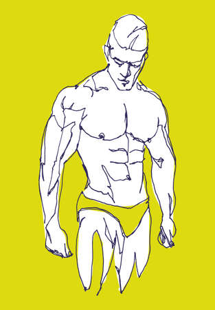 Vector free hand drawing illustration of a muscled man, fashion and beauty concept
