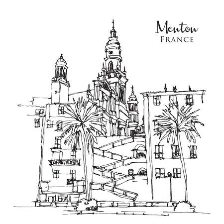 Vector hand drawn sketch illustration of Menton, a town in southeast France, French Riviera