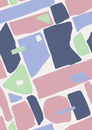 Abstract diagonal colorfield seamless pattern, modernist, papercut-like candid shapes in a repeating composition