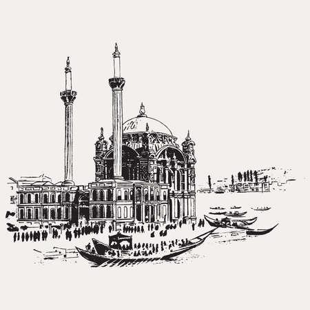 Drawing sketch illustration of Mecidiye Mosque or Ortakoy Mosque along Ortakoy Shore of the Bosphorus in Istanbul, Turkey