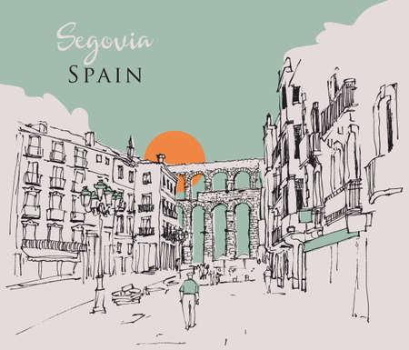 Vector drawing sketch illustration of the ancient Roman aqueduct in Segovia, Spain Vecteurs