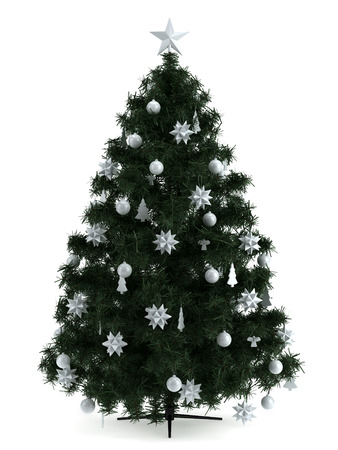 bright christmas tree: Illustration of Christmas tree in a full length image Stock Photo