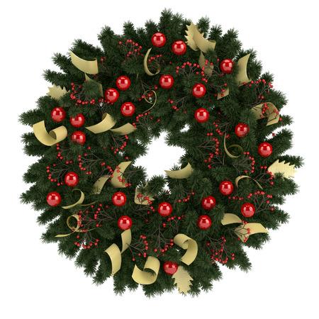 Illustration of Christmas wreath isolated on white backround illustration