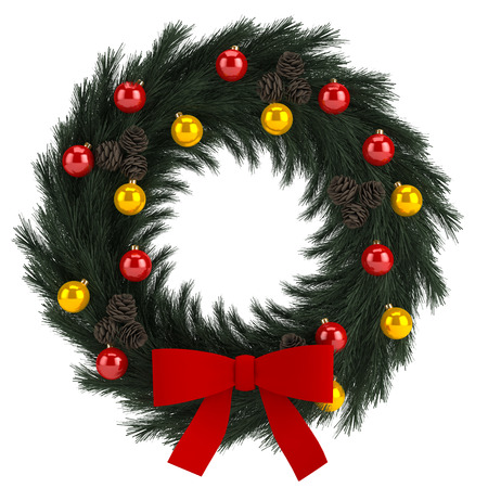 Illustration of Christmas wreath isolated on white backround illustration