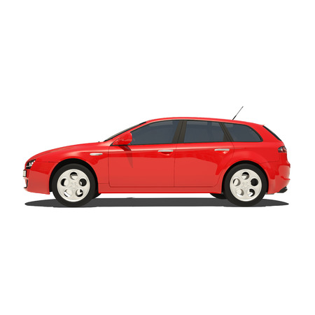 stock car: Red Car Isolated on The White Background