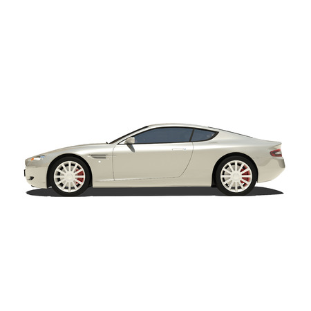 exotic car: Silver Super Car Isolated on White. Ready to use illustration.