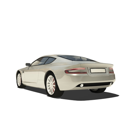 Silver Super Car Isolated on White. Ready to use illustration. Stock Illustration - 22686122