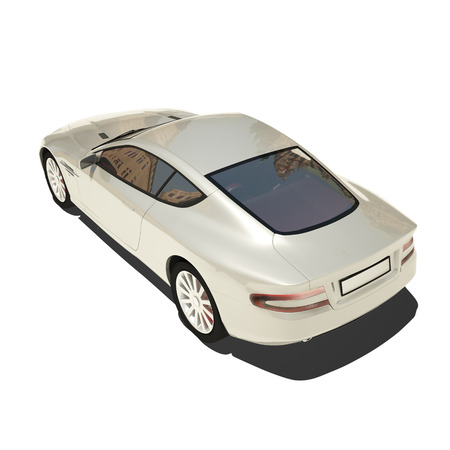 martin: Silver Super Car Isolated on White. Ready to use illustration.