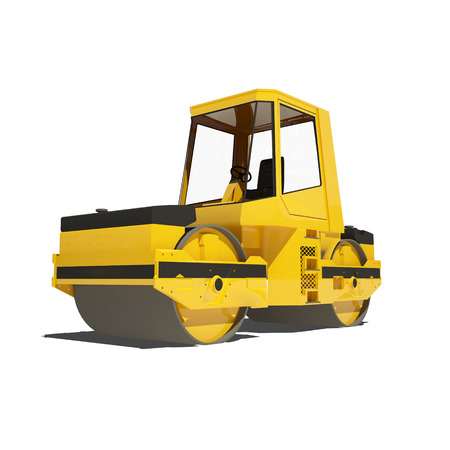 pave: Yellow asphalt roller isolated on white. Ready to use illustration.