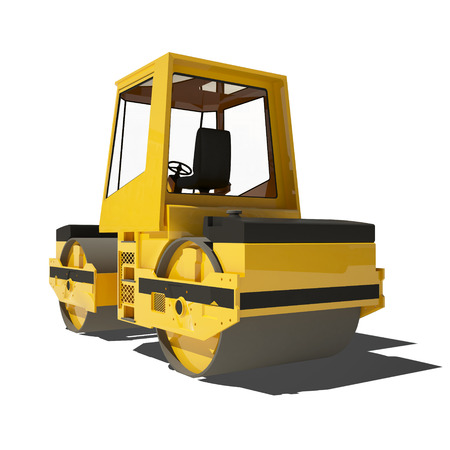 steamroller: Yellow asphalt roller isolated on white. Ready to use illustration.