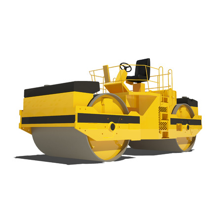 asphalt paving: Yellow asphalt roller isolated on white. Ready to use illustration.