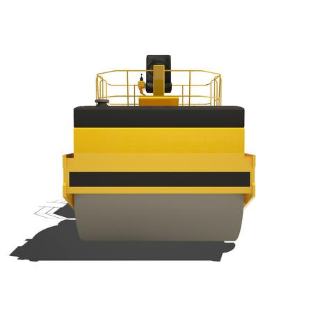 maquinaria pesada: Rodillo de asfalto amarillo aislado en blanco. Listo para usar ejemplo.