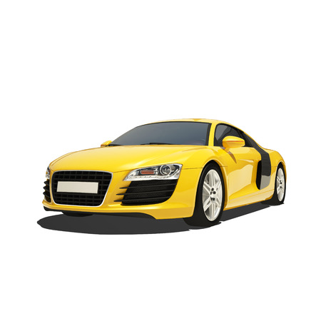 Yellow Super Car Isolated on the White Background. Ready to use illustration.