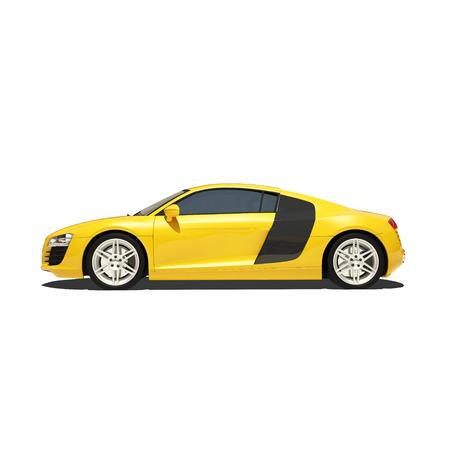 Geel Super auto die op de witte achtergrond. Klaar om afbeelding te gebruiken.