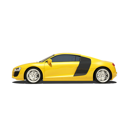 stock car: Yellow Super Car Isolated on the White Background. Ready to use illustration.