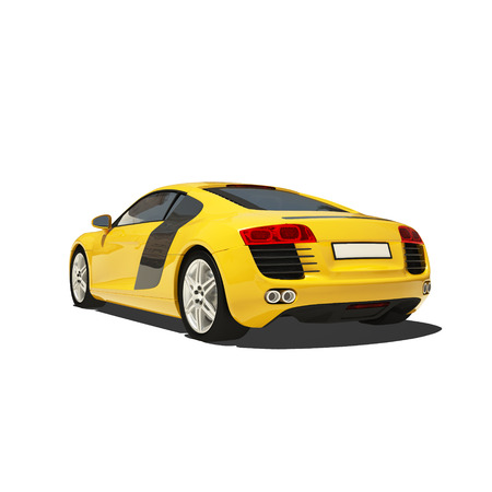 roadster: Yellow Super Car Isolated on the White Background. Ready to use illustration.