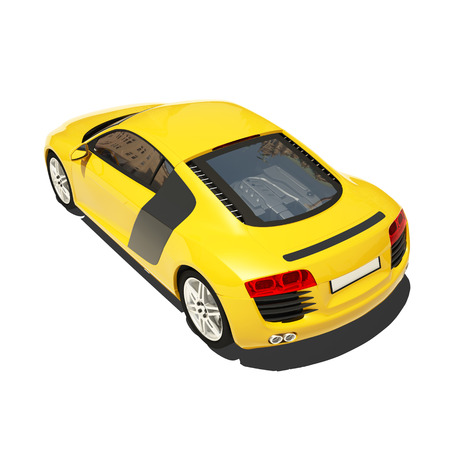 exotic car: Yellow Super Car Isolated on the White Background. Ready to use illustration.
