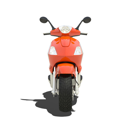 fast driving: orange scooter isolated on white. Stock Photo