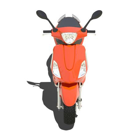 maneuvering: orange scooter isolated on white. Stock Photo