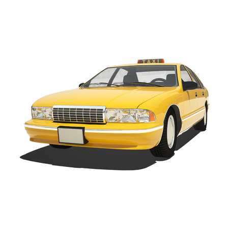 a yellow taxi: Yellow taxi isolated on white.