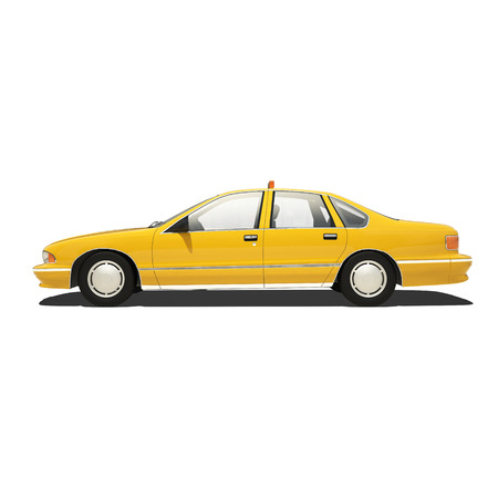 yellow cab: Yellow taxi isolated on white.