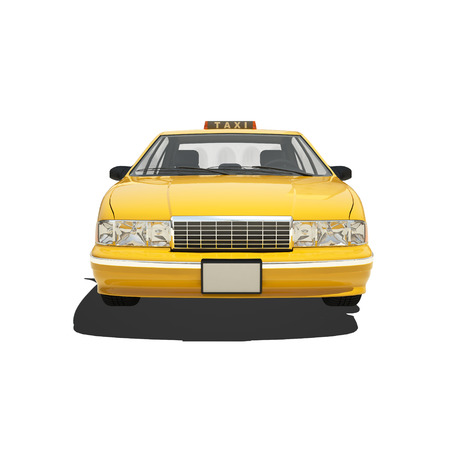 Yellow taxi isolated on white.