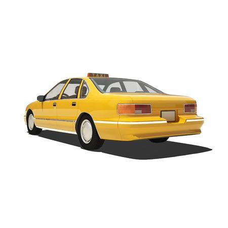 taxi: Taxi amarillo aislado en blanco.