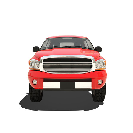 camioneta pick up: Pickup rojo aislado en blanco