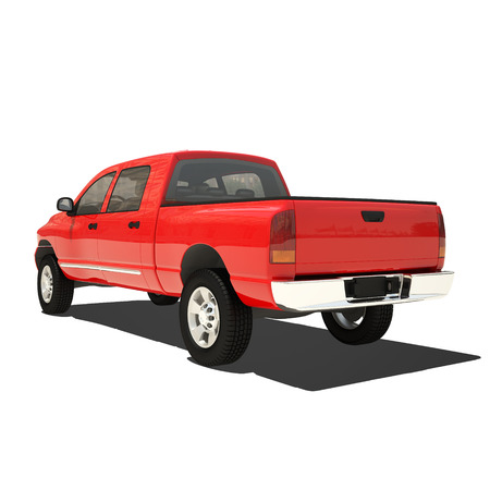 pickup truck: Pickup rojo aislado en blanco