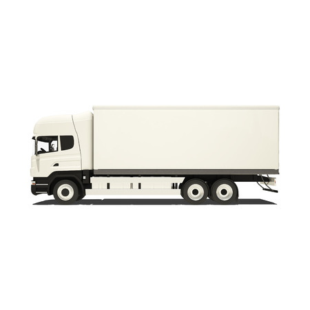 semitrailer: white truck isolated on white. Stock Photo