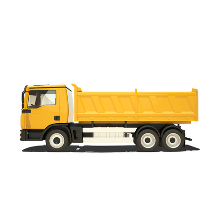 Yellow tipper isolated on white photo