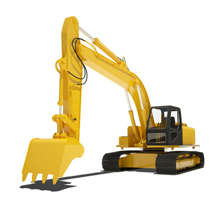 hoe: Yellow excavator isolated on white. Stock Photo